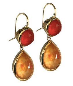 18K Gold Crownwork Bezel Carnelian Cabochon Pear-shaped Drop Earrings
