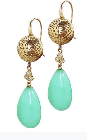 18K Gold Crownwork Ball And Crysoprase Earrings