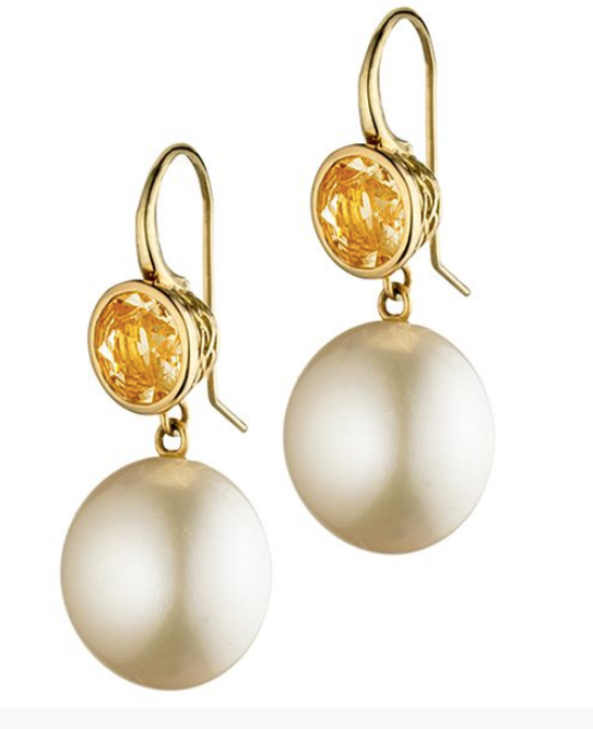 18K Gold, Golden Sapphire and Pearl Drop Earrings