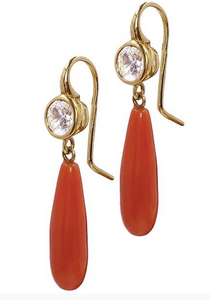 18K Gold , White Sapphire and natural Coral Drop Earrings