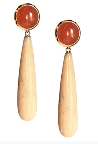 18K Gold Crownwork, Carnelian and Guava Agate Drops