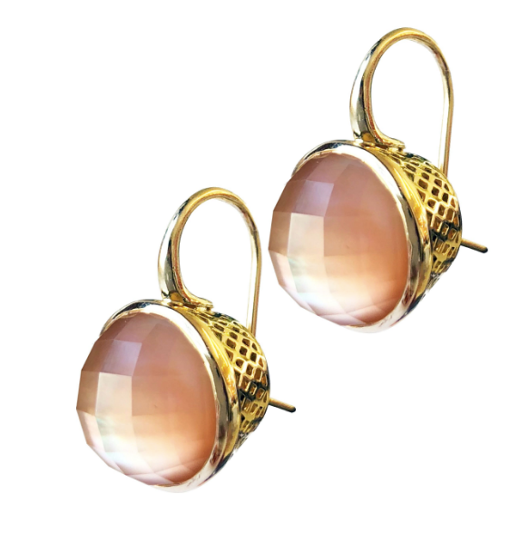 18K Gold Crownwork and Mother of Pearl Earrings