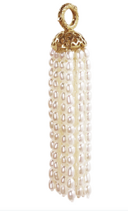 18K Gold Crownwork and Pearl Tassel
