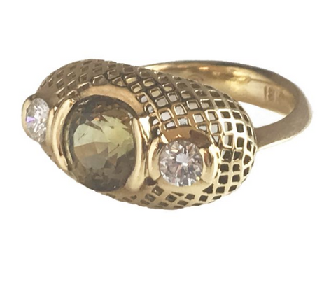 18K Gold Crownwork Dome Ring with Green Zircon and Diamonds