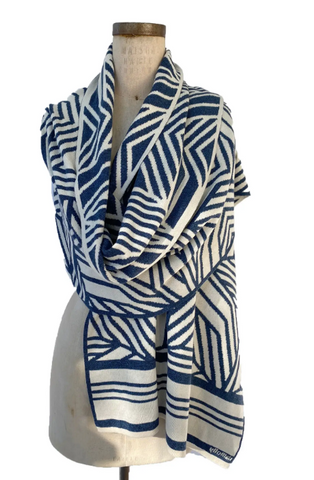 Camelia Wrap in Indigo and Cream