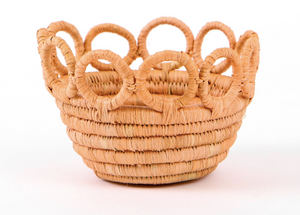 Tiny Peach Hooped Raffia Catch All