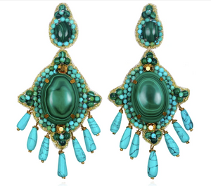 Mozambique Drop Earrings Malachite Turquoise