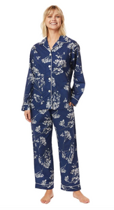Blue Floral Long-Sleeved Pajama