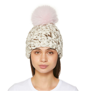 White and Marble Blend Knit Beanie with Pink Fur Pom Pom