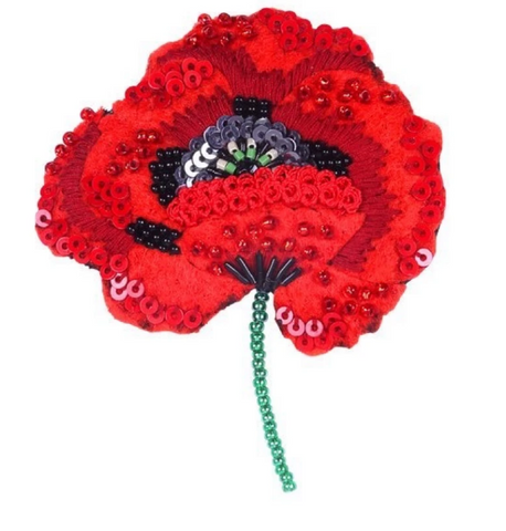 Red Poppy Brooch Pin