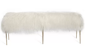 Stiletto Bench - Ivory Sheepskin