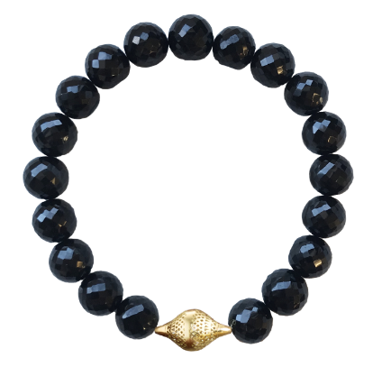 Faceted Onyx Stretch Bracelet