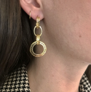 18kt Crownwork Disc Drop Earrings
