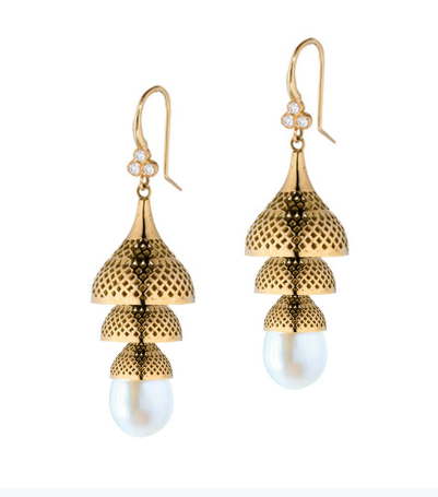 Pearl and 18kt Gold Drop Earrings