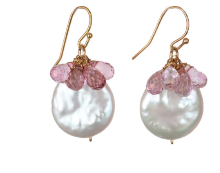 Marla Pearl and Pink Topaz Earrings