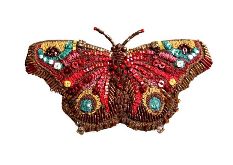 European Peacock Butterfly Brooch Pin