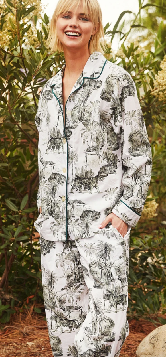 Tiger Toile Luxe  Long-Sleeved Pima Pajama