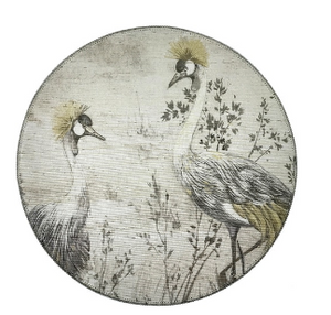 Set of Two Round Grasscloth Placemats - Crested Cranes - Sotre Collection