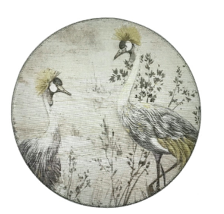 Set of Two Round Grasscloth Placemats - Crested Cranes