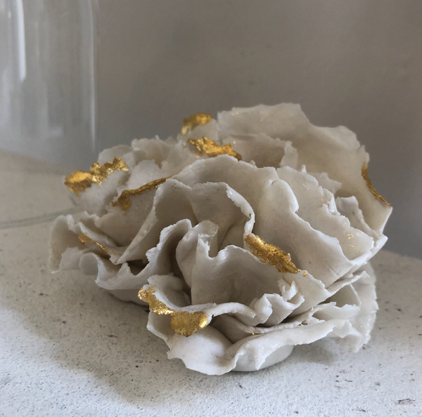 """Corail Feuilles"" Gold Coral Leaves Porcelain Sculpture - Sotre Collection"