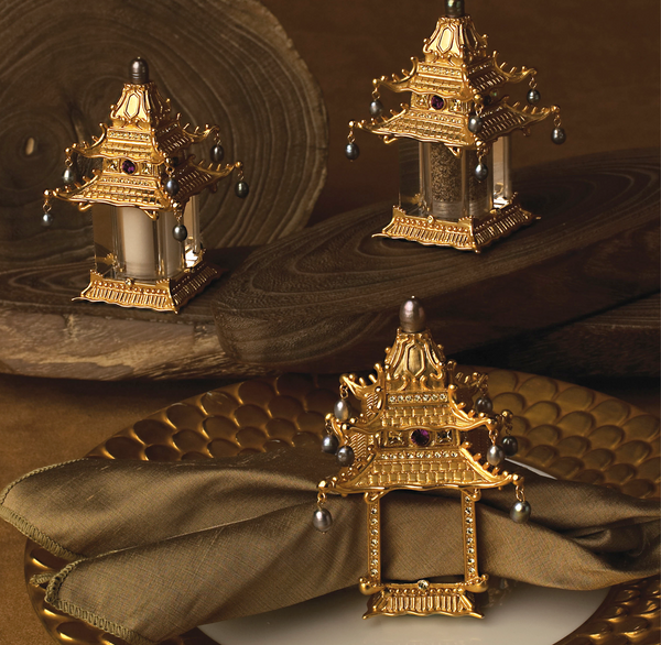 24K Gold Plated Pagoda Napkin Rings