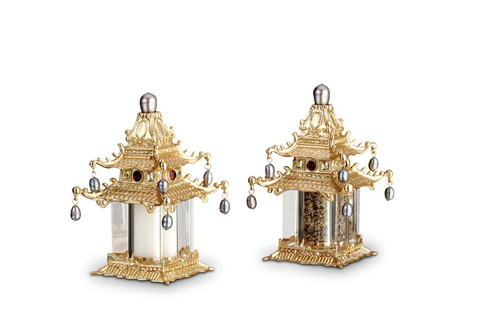 24K Gold Plated Pagoda Salt & Pepper Shakers - Sotre Collection