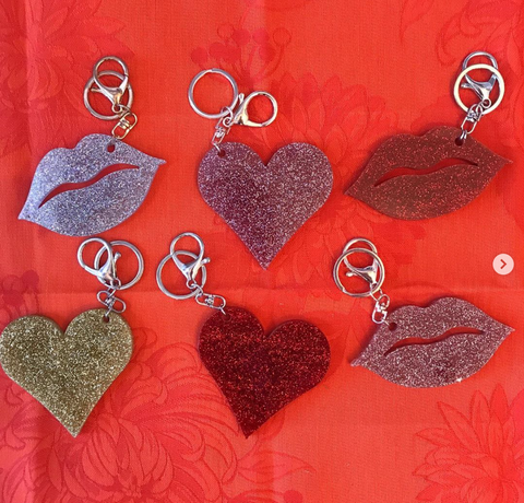 Glittery Heart & Lips Key Chain - Sotre Collection