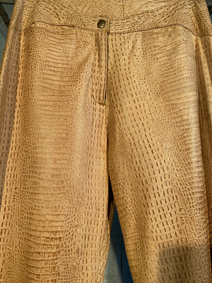 1/1 SMV VEGAN LEATHER SNAKE PRINT PANTS, TAN