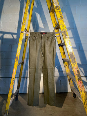 1/1 SMV LEATHER PANTS, OLIVE GREEN
