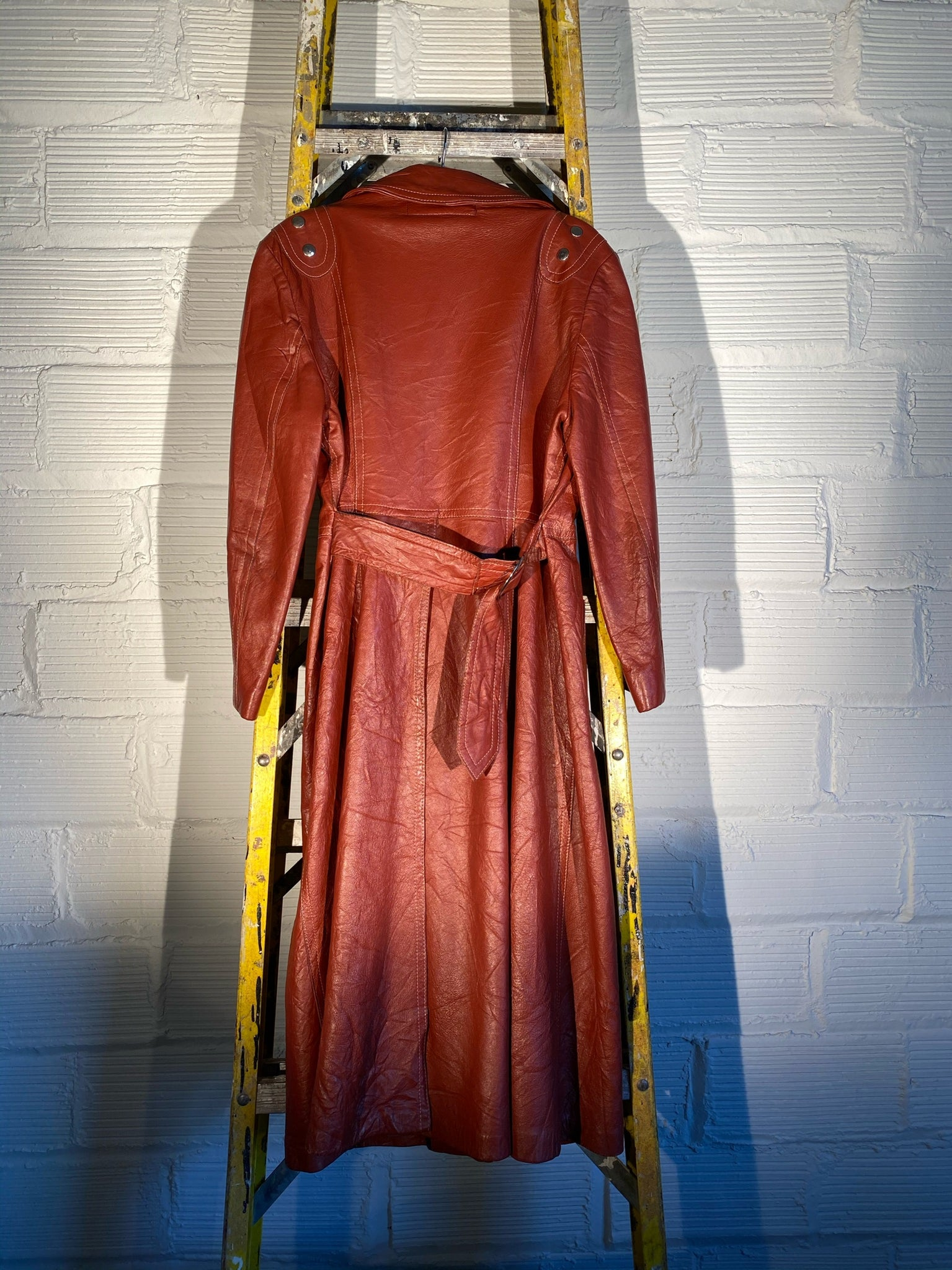 1/1 SMV BURNT RED LEATHER TRENCH COAT