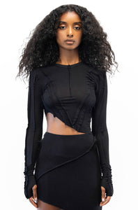 ASYMMETRIC LONG SLEEVE TEE IN BLACK
