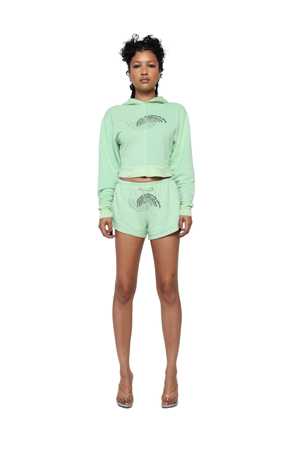 SAFETY PIN MINI SWEATSHORTS IN SEAFOAM