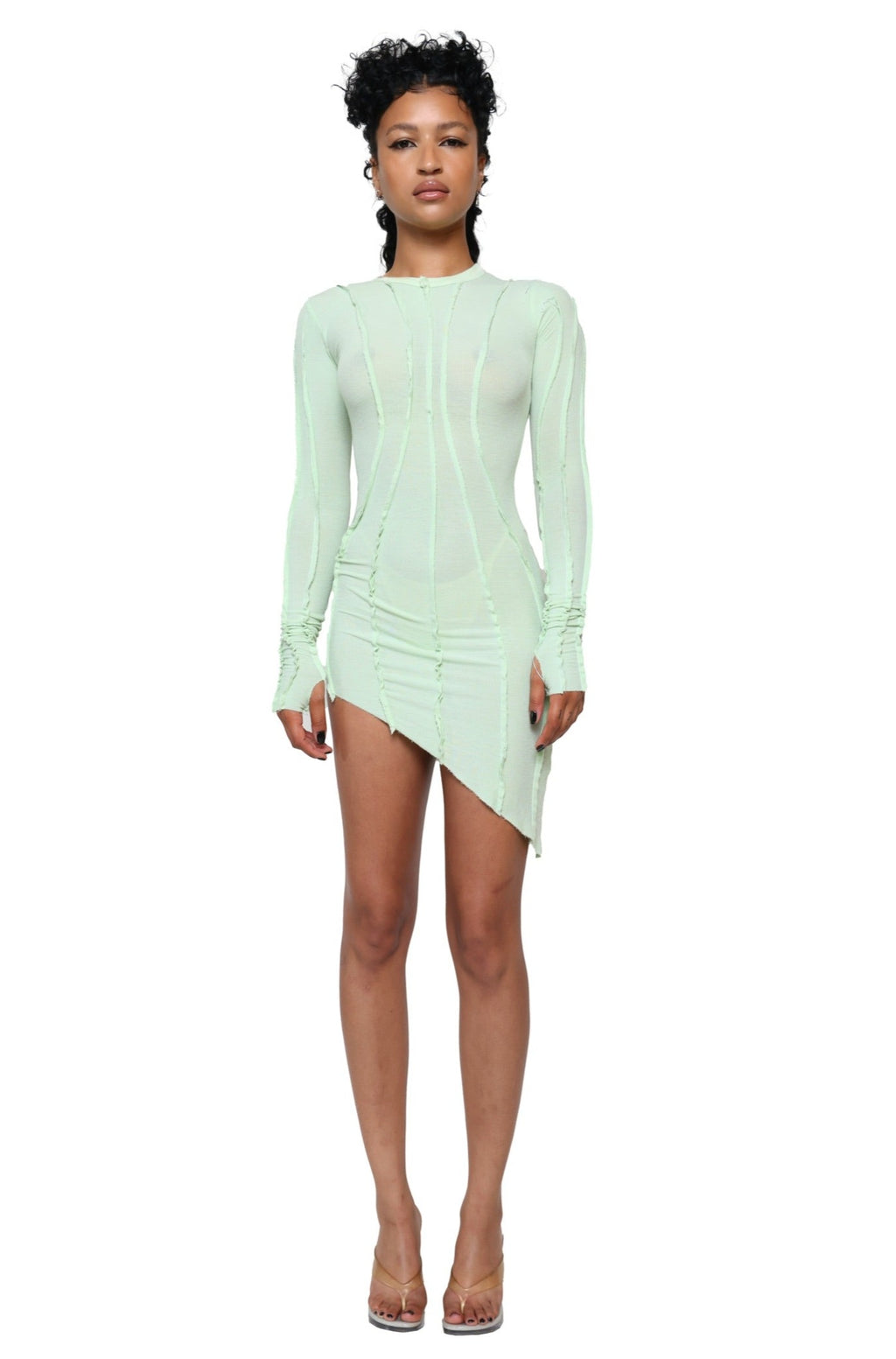 ASYMMETRIC LONG SLEEVE DRESS IN SEAFOAM