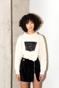 BRANZINO SWEATER CROP IN BLACK DENIM