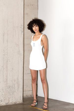 HARLEY BEATER DRESS IN WHITE