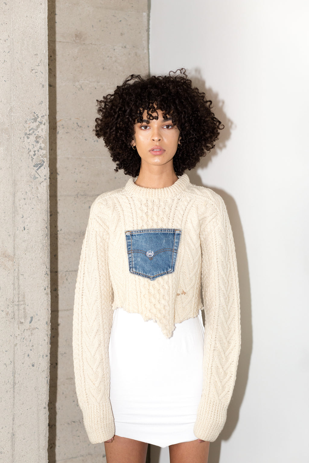 BRANZINO SWEATER CROP IN BLUE DENIM