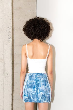 SYLVESTER SKIRT IN FAUX DENIM