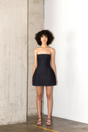 MAXIMILIAN REVERSE DRESS IN DARK BLUE RAW DENIM