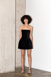 MAXIMILIAN REVERSE DRESS IN CRUSHED VELVET