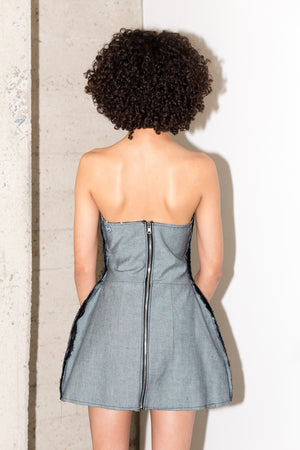 MAXIMILIAN REVERSE DRESS IN SILVER BLUE RAW DENIM