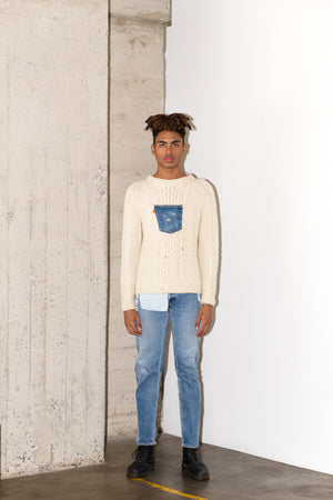 BRANZINO SWEATER LONG IN BLUE DENIM (PRE-ORDER)