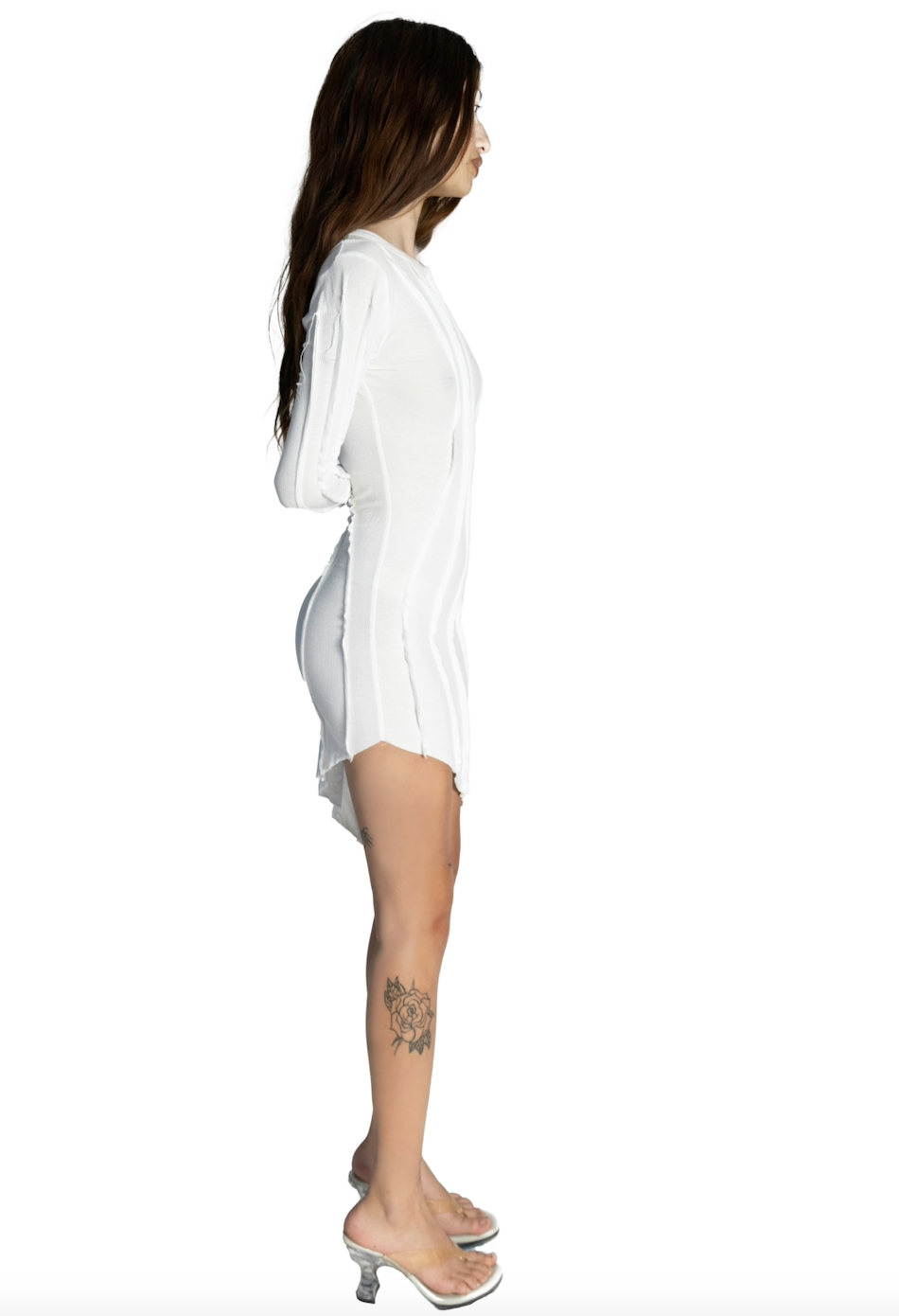 ASYMMETRIC LONG SLEEVE DRESS IN WHITE