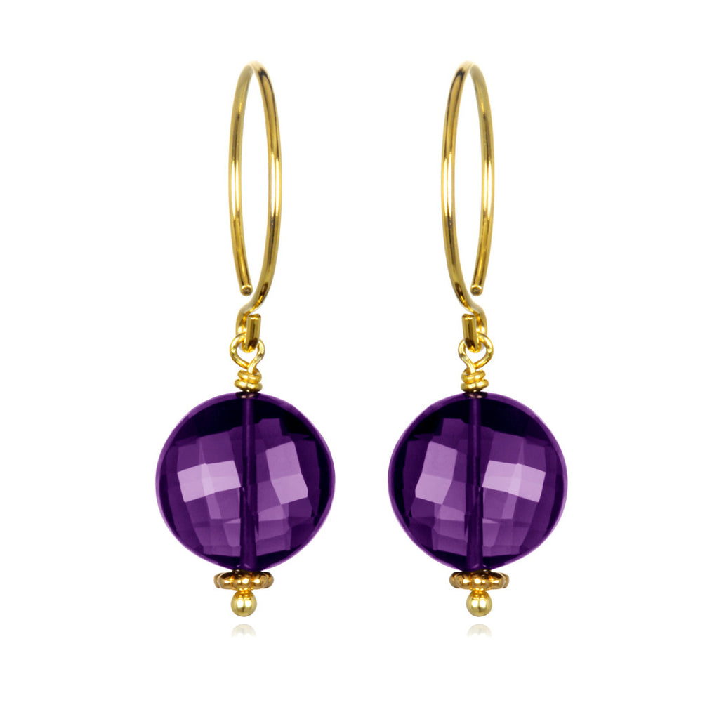 Amethyst Coin Earring Gold