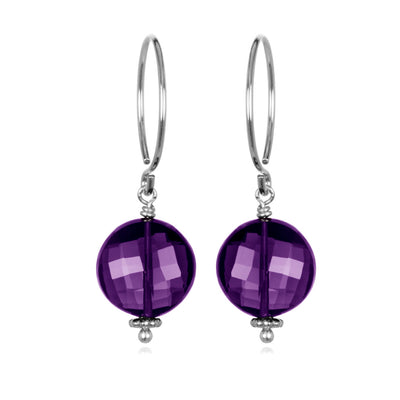 Amethyst Coin Earring Silver