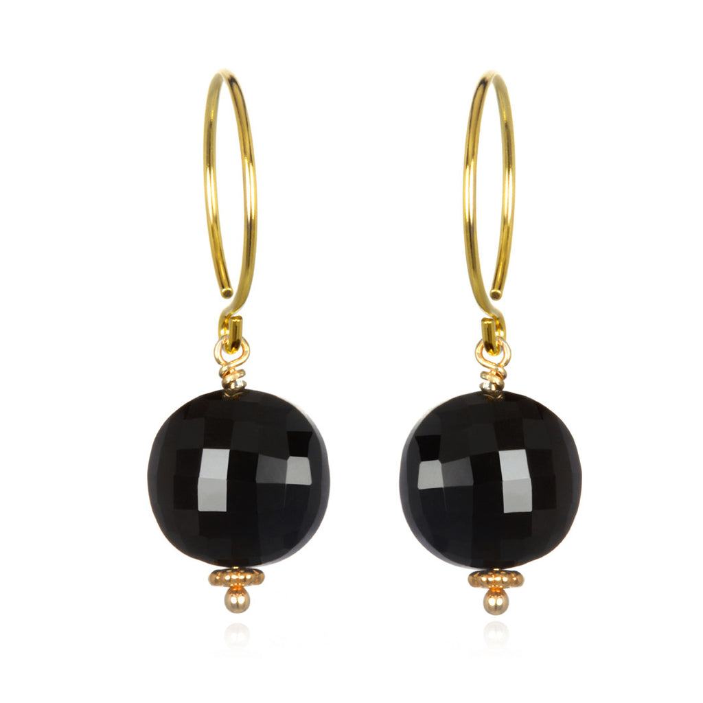 Black Spinel Coin Earring Gold