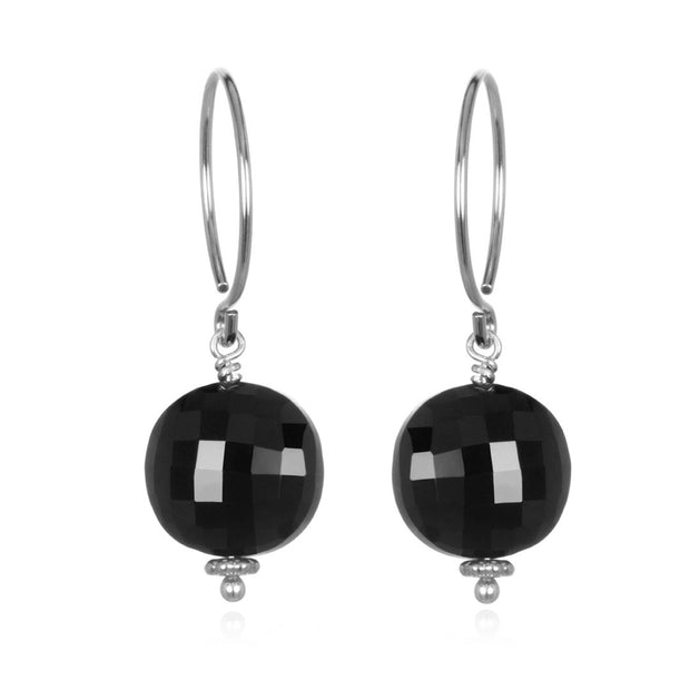 Black Spinel Coin Earring Silver