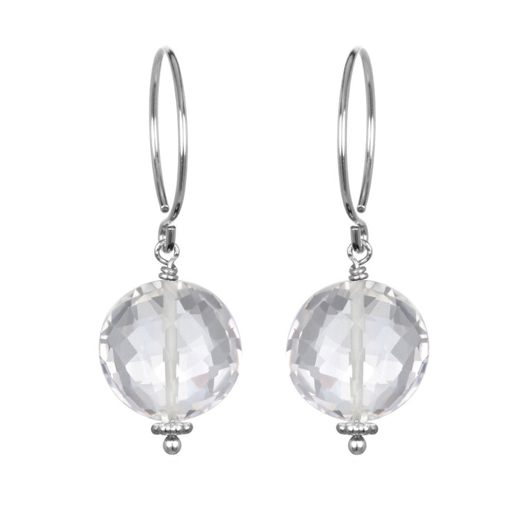 Clear Quartz Coin Earring Silver