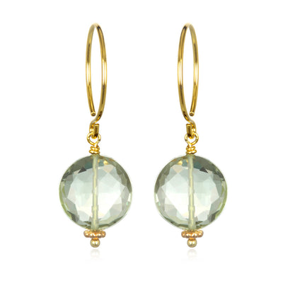 Green Amethyst Coin Earring Gold