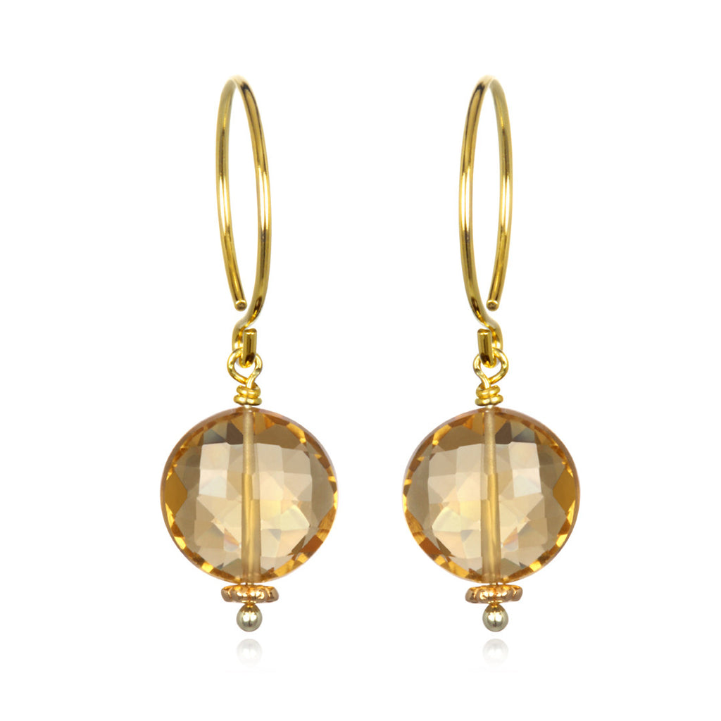 Honey Quartz Coin Earring Gold