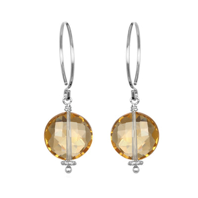 Honey Quartz Coin Earring Silver